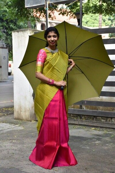 We love the green and pink.. also the green umbrella.. all set for margazhi. .!! Www.aavaranaa.com