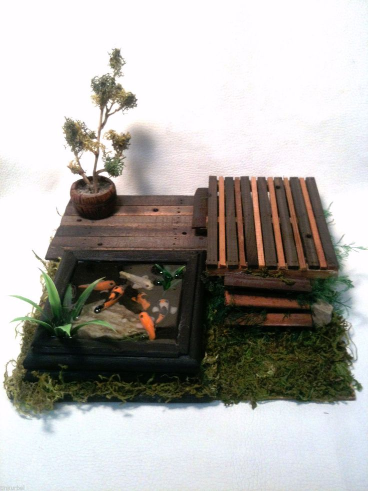 Miniature koi fish pond with deck 41 dollhouse things for for Miniature fish pond