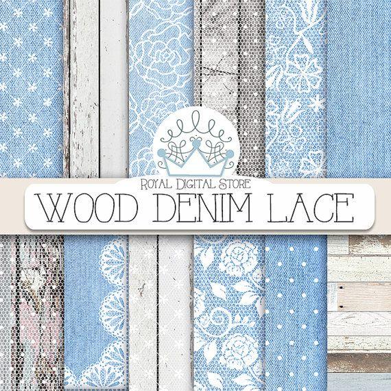 "Denim Digital Paper: "" Wood Denim Lace"" with wood, lace, blue jeans, denim backgrounds, denim scrapbook paper for invitations, cards #denim #wood #white #digitalpaper #scrapbookpaper #shabbychic"