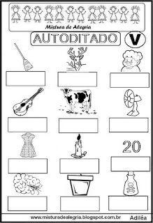 Autoditado para alfabetização com a letra V