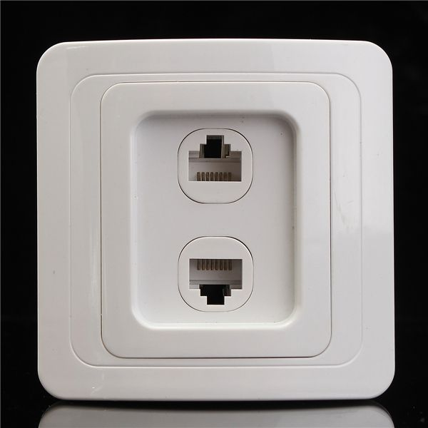250V 2 Port 81x81mm CAT5e RJ45 Network Socket Double Gang Wall Socket