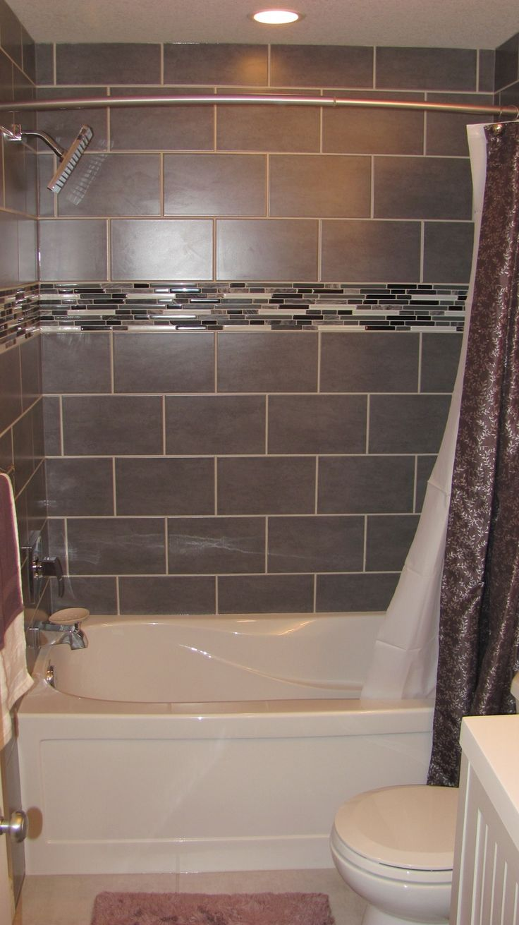 Tile designs for bathroom walls - Bathroom Cool Ideas For Bathroom Decoration Using Dark Grey Tile Bath Surround Along With