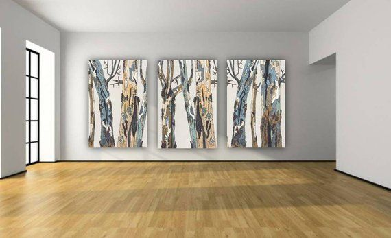 Oversized Large Wall Art Triptych White Blue Brown Pastels