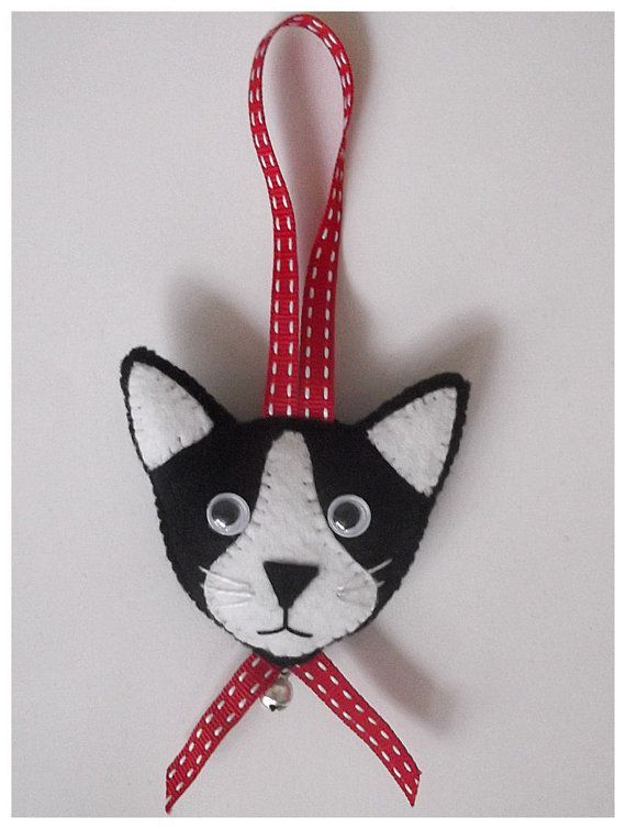 Felt Cat Face Hanging Ornament by CraftyCatLadyUK on Etsy
