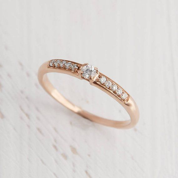 Gold minimalist ring Pretty ring White topaz ring Minimalist ring Elegant ring White stone ring Dainty ring Promise ring for her
