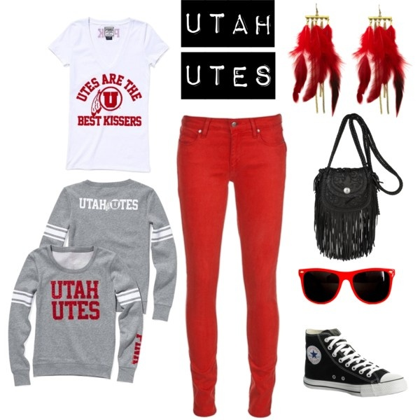 Utah Utes! Perfect outfit for a football game! bought that sweatshirt today.. now.. i need those red pants.