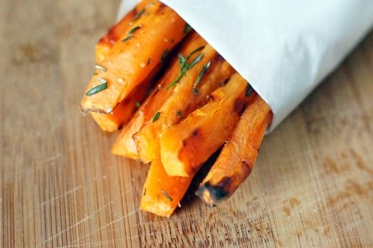 Oven Baked Sweet Potato Fries with Sea Salt and Rosemary