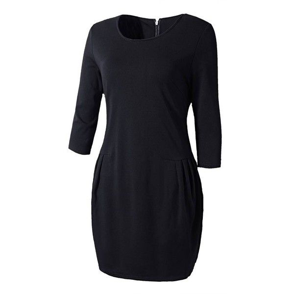 Plus Size Cotton Half Sleeve O-Neck Slim Mini Dress ($20) ❤ liked on Polyvore featuring dresses, black mini dress, mini dress, slimming dresses, cotton dress and elbow sleeve dress