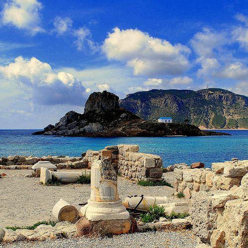 Agios Stefanos  island Kos - Greece -  on the beach near Kefalos you can see antique ruins and   a charming chapel on a tiny island -  ( best viewed on black ) -