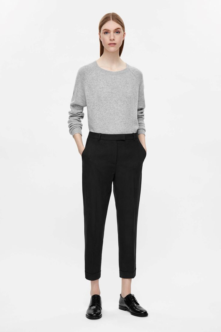 COS image 1 of Straight-leg wool trousers in Black
