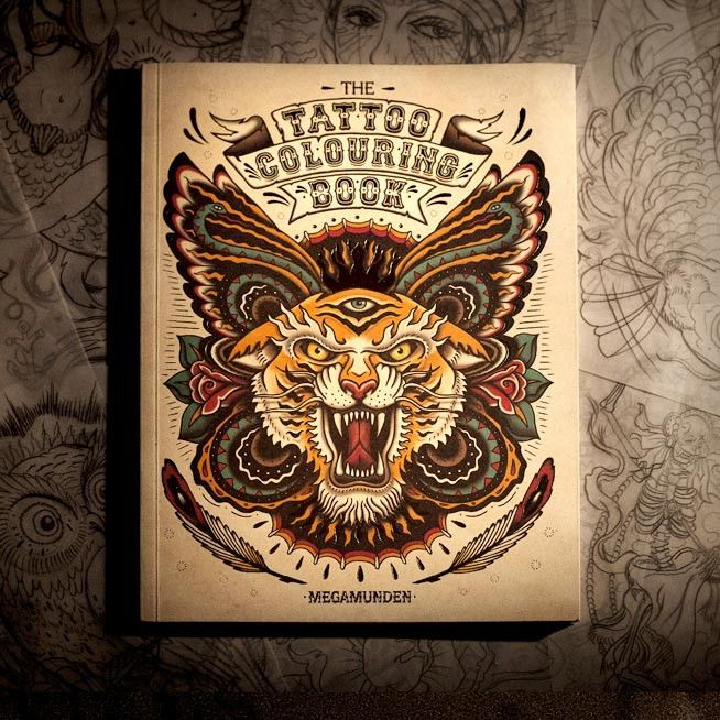 Kleurboek met vele tattoo afbeeldingen. Cool cadeau voor jong en oud http://www.shoppingsmall.nl/megamunden-the-tattoo-colouring-book.html uit de winkel van Cloud Nine Store http://www.shoppingsmall.nl/haarlemmerbuurt/cloud-nine-store
