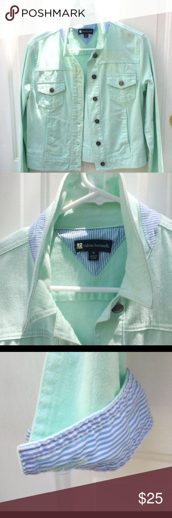 Valerie Bertonli green jean jacket Valerie Bertonli mint green jean jacket in a light stretch cotton blend ...cool striped lining on cuffs and collar ..lightly worn valerie bertonelli Jackets & Coats Jean Jackets