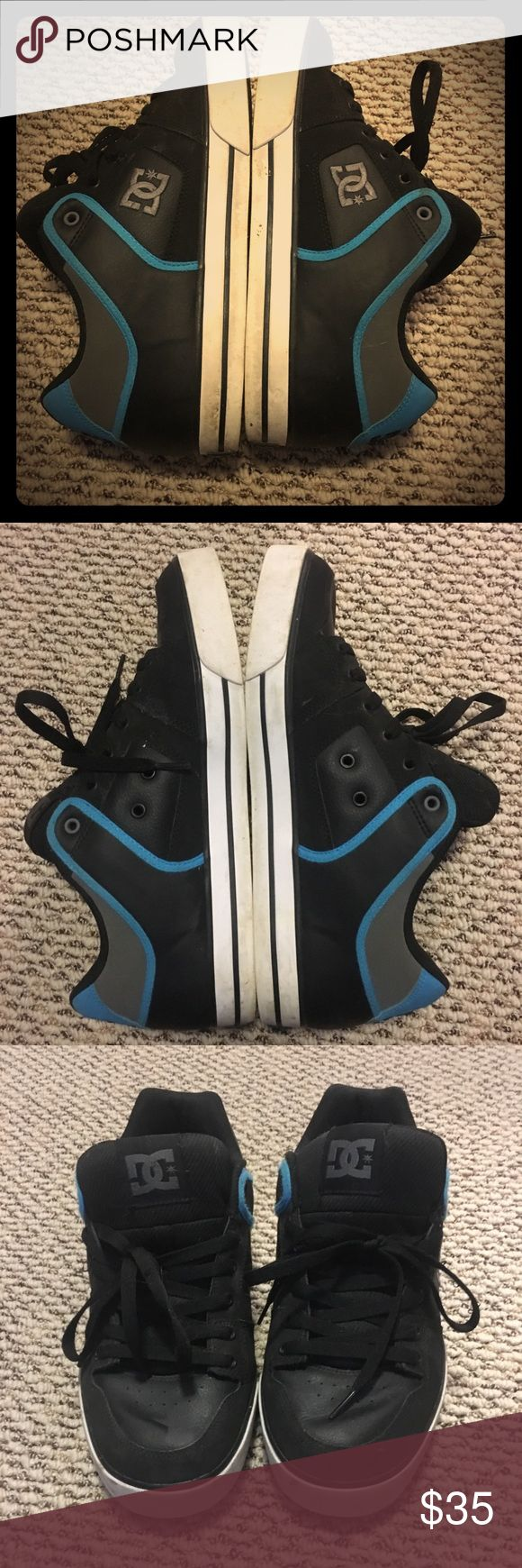 DC Skate shoes- Men's size 12 EUC - Men's size 12.  DC leather skate shoes. Electric blue, charcoal gray, and black with black laces. Great condition only worn a few times DC Shoes Sneakers
