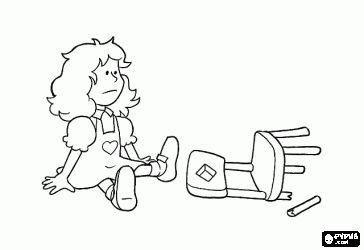 Goudlokje zit op de kleinste stoel en de stoel breekt kleurplaat