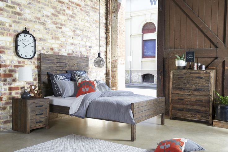 Millwood Bed Suite - Made from recycled timber to create an industrial look that's full of warmth and style. Available with matching tallboy, bedside and dressing table.