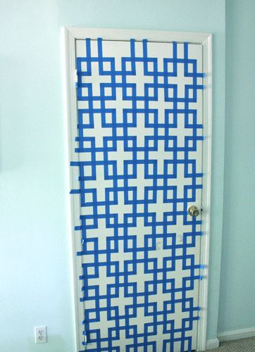 Wall art concept - paint canvas wall color first, create tape trellis and paint white over to create trellis affect. Result will be mostly white canvas with blue trellis. Or use white paint on blue fabric to create similar affect and frame the fabric.