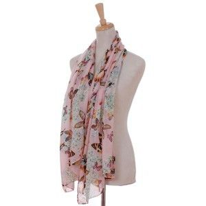 Colorful Butterfly Chiffon scarf ( Pink ) ECS010675only £6.99 ....Available to shop online now at www.katiedolittle.com #scarf #butterfly#gift