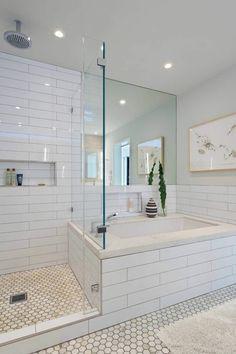 carrelage sol hexagonal, salle de bain avec baignoire et douche