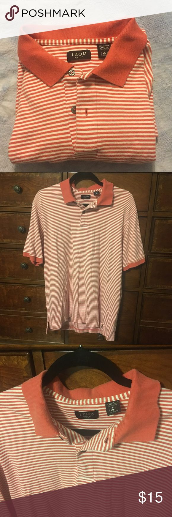 Izod Polo Salmon Stripe Men's Shirt L IZOD polo collared shirt, size large. Salmon color with white stripes. Very soft, great condition. For some reason my phone camera made the color look dull in some of the pictures, but it is actually the most like the first picture, a bright salmon color or light burnt orange. Just doesn't fit my husband anymore! Bundle away, y'all--makes for great presents! Izod Shirts Polos