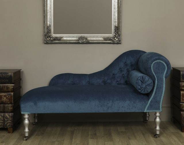 This blue teal velvet traditional chaise day bed with wooden turned legs is an antique style chaise beautifully upholstered in a blue teal velvet fabric