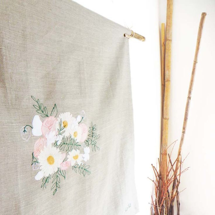 Floral square embroidered linen table cover, DAISY bridal bouquet keepsake  #wedding #keepsake #bridal #bouquet #linen #anniversary