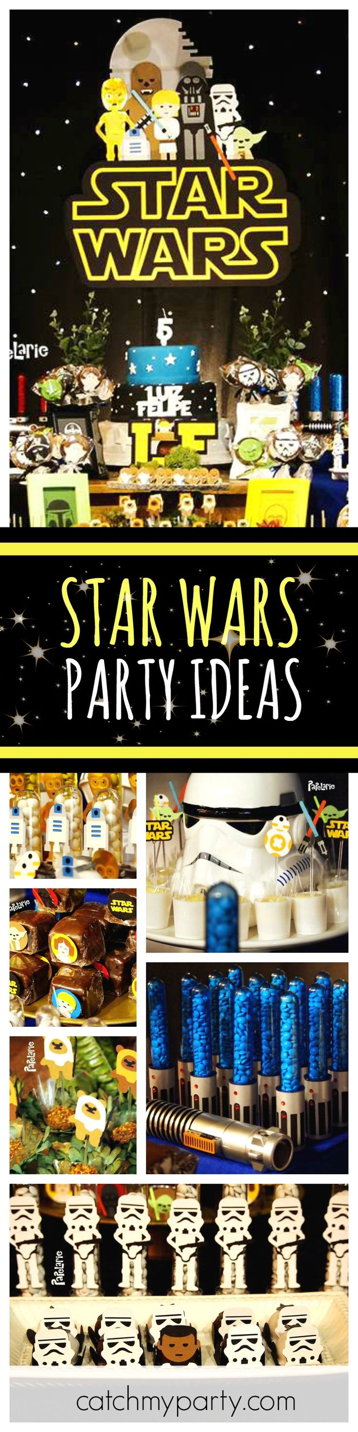 Travel into space with this awesome Star Wars birthday party. Love the M&M light saber treats!! See more party ideas and share yours at CatchMyParty.com