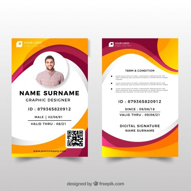 Id Card Template With Flat Design Id Card Template Identity Card Design Visiting Card Design