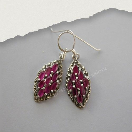 Pink Corundum Sterling sSilver Earrings set in classic marcasite