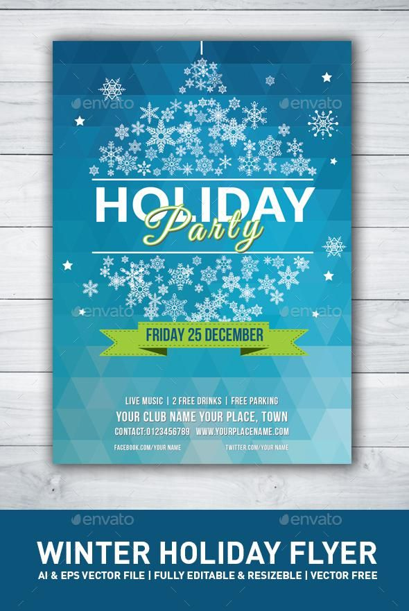 Christmas Winter Party Flyer Envato Market Flyer Holiday