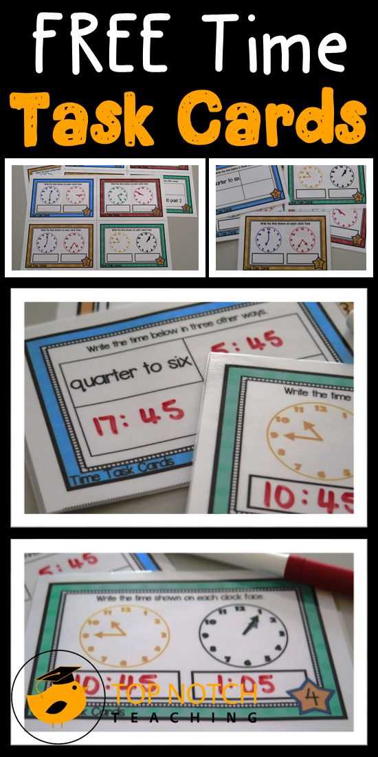 Here are some free task cards that you can use with your students to review time. Great for math centers and for individual practice.