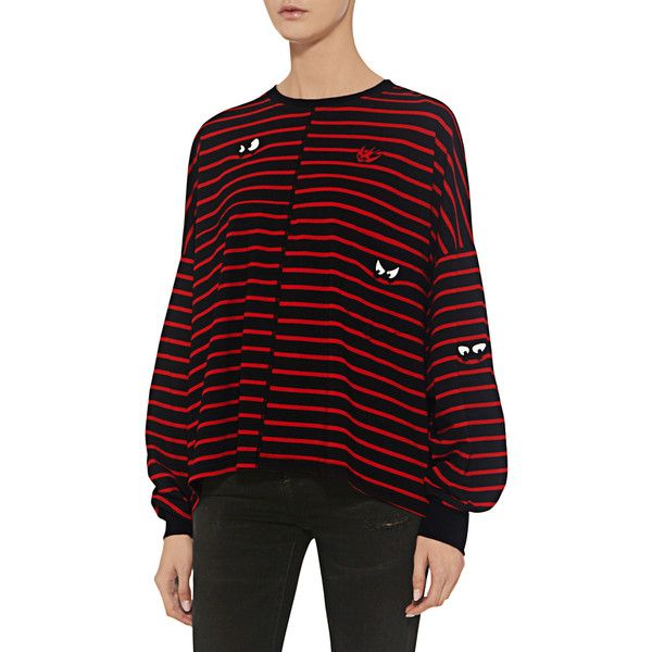 Mcq Alexander Mcqueen - Striped Long Sleeve Tee ($290) ❤ liked on Polyvore featuring tops, t-shirts, striped tee, longsleeve t shirts, urban t shirts, stripe t shirt and stripe tee