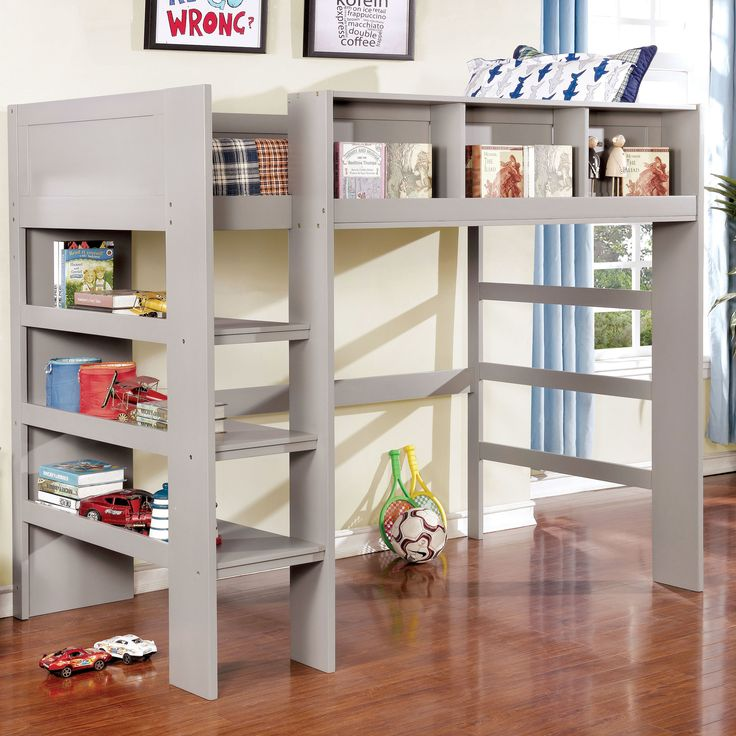 Furniture of America Peralta Transitional Twin-size Loft Bed with Built-in Bookcase