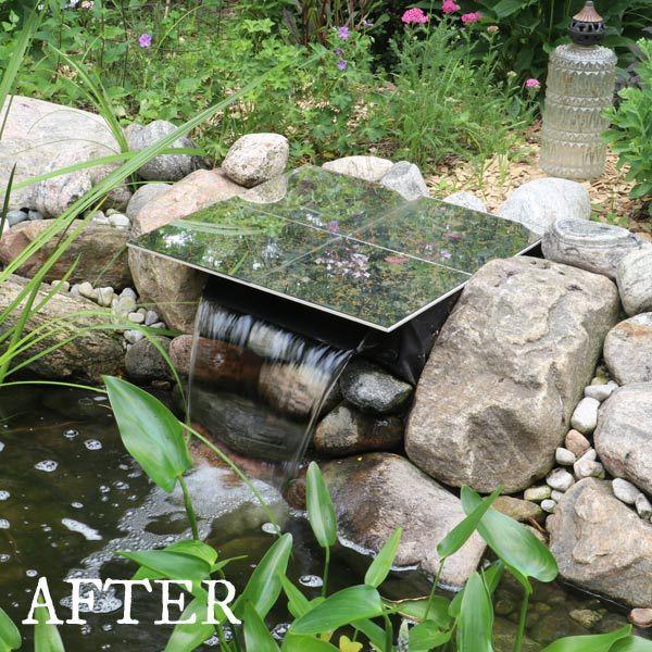 How To Hide A Pond Waterfall Spillway Box Pond Waterfall Ponds Backyard Diy Pond