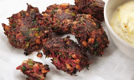 Yotam Ottolenghi's beetroot fritters with lemon and saffron yoghurt recipe