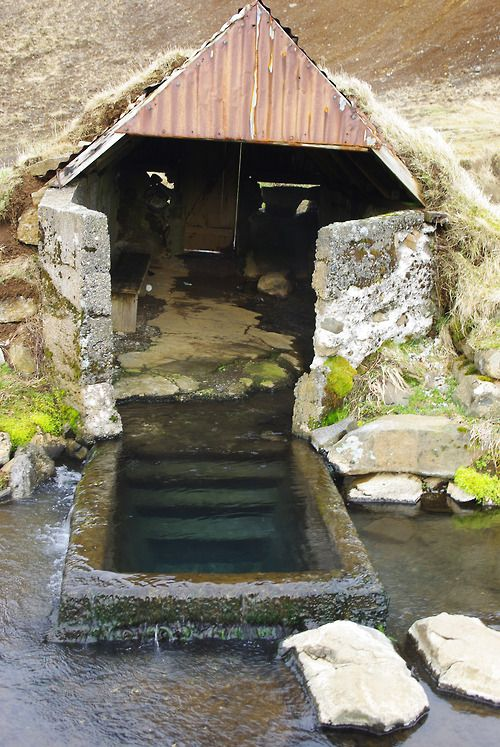 Viking bathing area. Such structures, whether abandoned or still in use, can be found throughout the country, especially among Norse settlements.