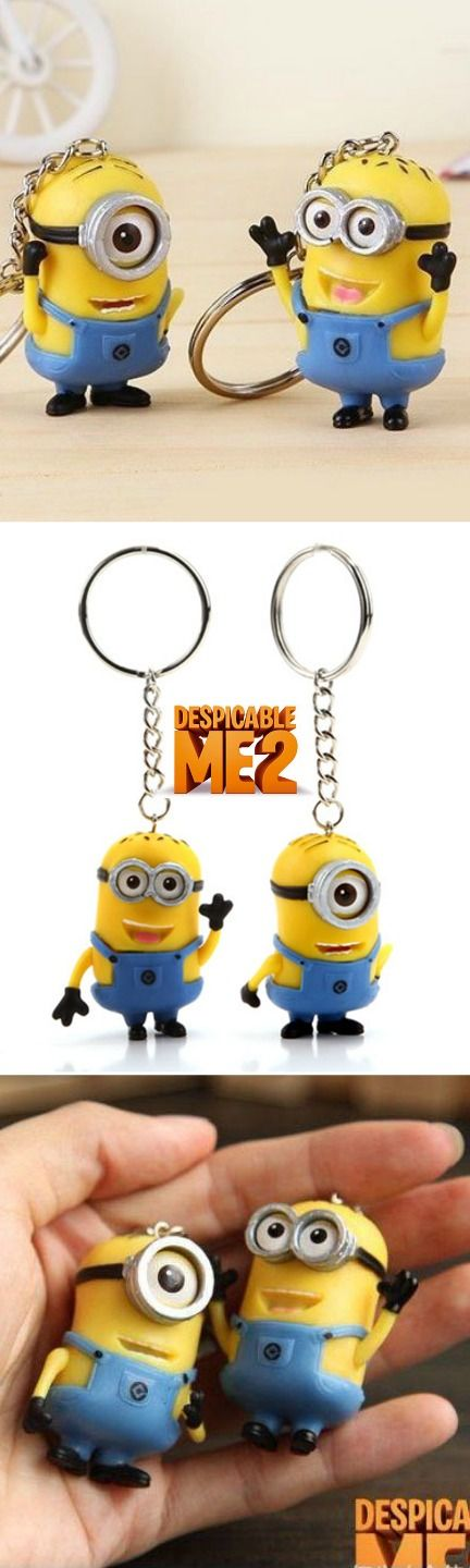 2 PCS Cute Despicable Me 2 Minion Toy Rubber Key Ring! Click The Image To Buy It Now or Tag Someone You Want To Buy This For.  #Minions