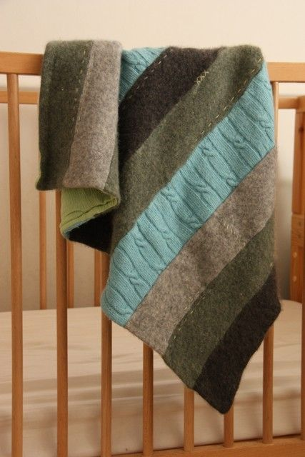 Upcycled blanket using old sweaters - what a great idea.