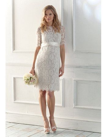 Elegant Lace Short Beach Wedding Dresses with Short Sleeves