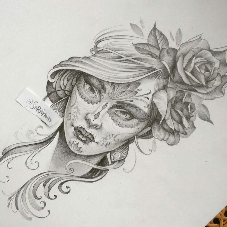 Day of the dead tattoo design. Pencil drawing on bristol  Www.society6.com/sarachnid Instagram.com/saraknid