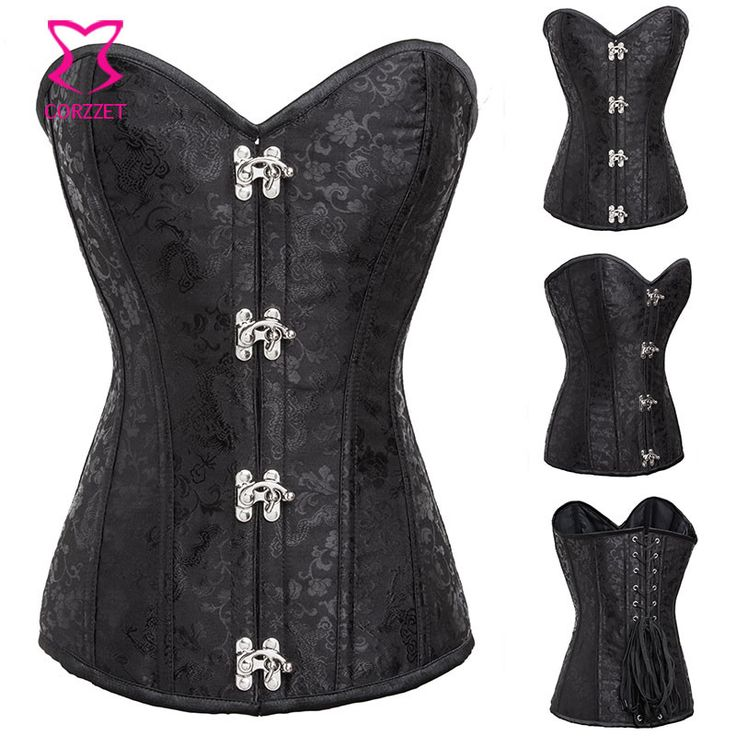 Black Brocade Overbust Gothic Corset Steel Ring Buckled Steampunk Corsets and Bustiers Fajas Modeladoras Reductoras Sexy Korsett