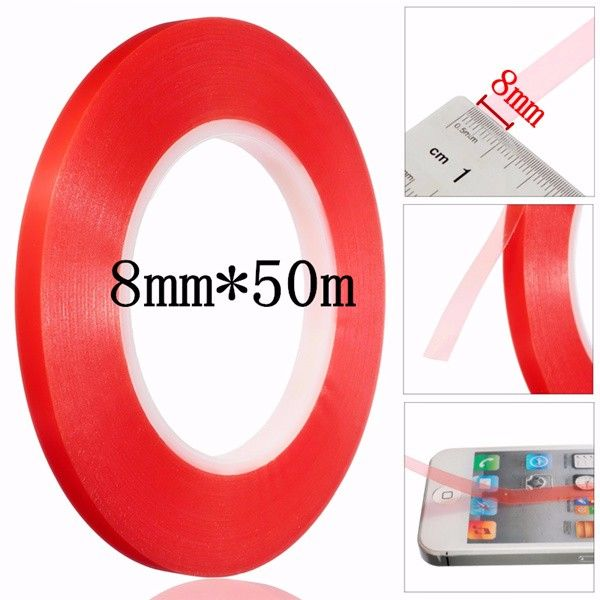 8mm Transpar Tape Strong Acrylic Adhesive Pet Transparent Double Sided Red Film No Trace For Phone Lcd Screen Acrylic Adhesive Adhesive Tape