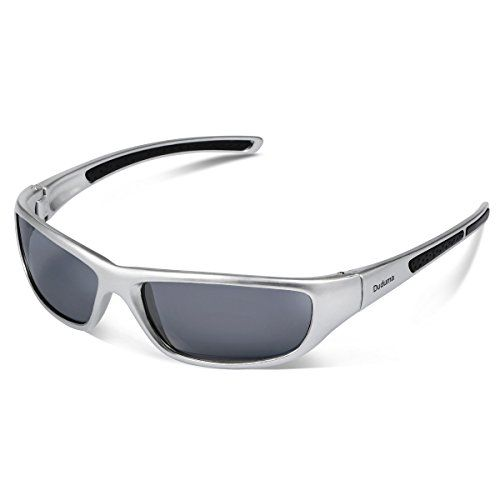 Duduma Tr8116 Polarized Sports Sunglasses for Baseball Cycling Fishing Golf Superlight Frame (silver frame with black lens)