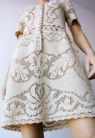 Платье филейным узором / Вязание