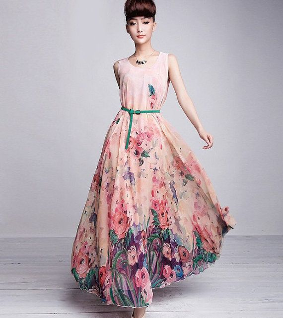 On Sale Bohemian Pink Floral Print Chiffon Casual A-line Dress Full Pleated Skirt Beach Wedding Bridesmaid Holiday Fashion Party Ball Gown