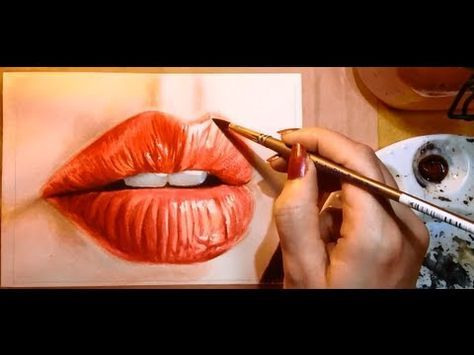 ▶ How to Paint a Realistic Mouth (Lips) - Watercolor Portrait Tutorial ... Kelly Eddington