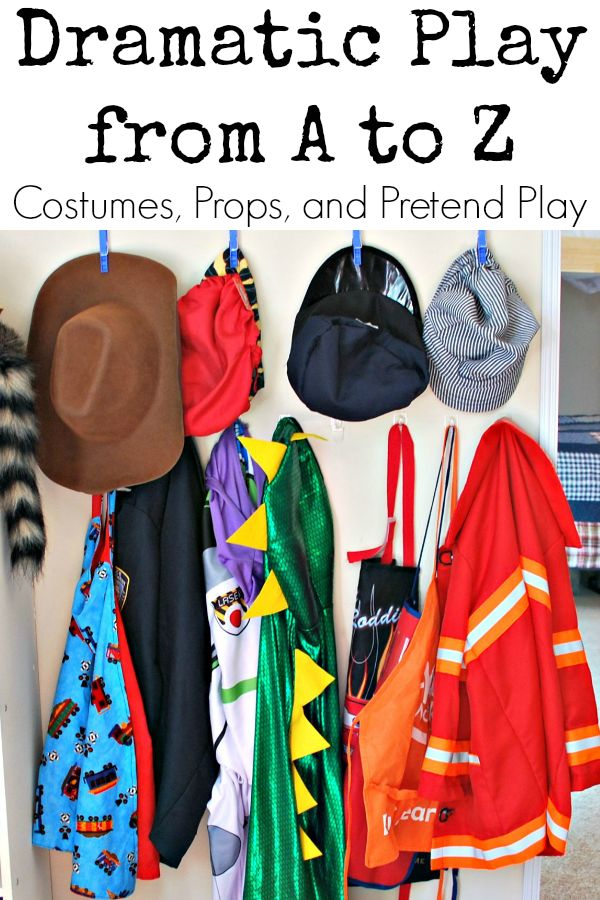 Dramatic Play from A to Z series--26 days of ideas for costumes, props, and pretend play ideas for kids