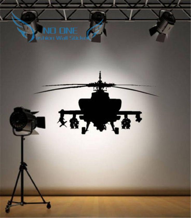 Leger Helicopter Sticker Slaapkamer Art Decal Jongens Muurstickers Woondecoratie gratis verzending(China (Mainland))