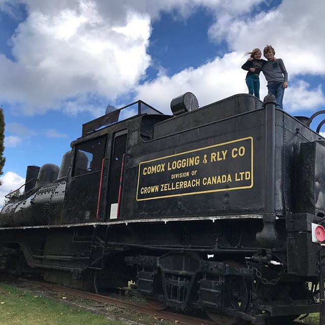 Visiting the Kaatza Station Museum in Lake Cowichan. Its closed for the holidays but there are plenty of big engines and trains to keep the kids busy exploring for hours.