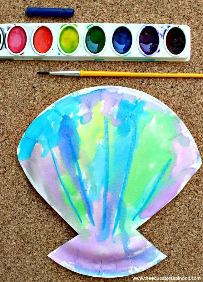 Seashell themed painting  Beach ocean sea summer themed paperplate project shaped like a  shell