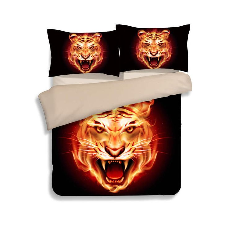 ==> [Free Shipping] Buy Best cartoon animal bedspreads bed linen black flame fire tiger bedding bed comforter duvet cover sets queen king twin size head Online with LOWEST Price | 32788320122